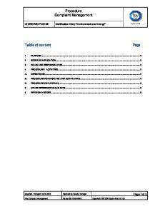 Procedure Complaint Management. Table of content Page