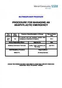 PROCEDURE FOR MANAGING AN ANAPHYLACTIC EMERGENCY