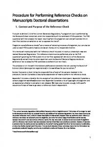 Procedure for Performing Reference Checks on Manuscripts Doctoral dissertations