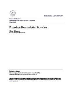 Procedure: Postconviction Procedure