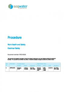Procedure. Work Health and Safety Electrical Safety. Document number: PRO-00006