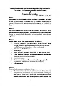 Procedures for Acquisition or Disposal of Assets of Pegatron Corporation