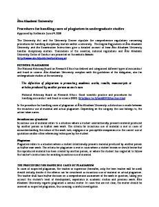 Procedures for handling cases of plagiarism in undergraduate studies