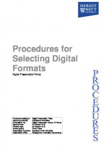 Procedures for Selecting Digital Formats Digital Preservation Policy