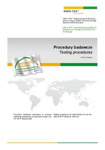 Procedury badawcze Testing procedures