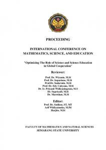 PROCEEDING INTERNATIONAL CONFERENCE ON MATHEMATICS, SCIENCE, AND EDUCATION. Reviewer: