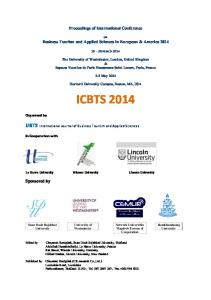 Proceedings of International Conference. on Business Tourism and Applied Sciences in European & America March 2014