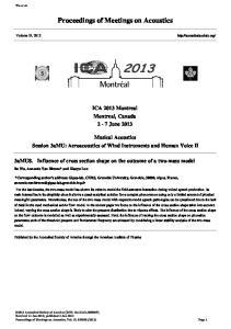 Proceedings of Meetings on Acoustics