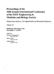 Proceedings of the. 16th Annual International Conference of the IEEE Engineering in. Medicine and Biology Society