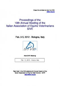 Proceedings of the 18th Annual Meeting of the. Italian Association of Equine Veterinarians SIVE