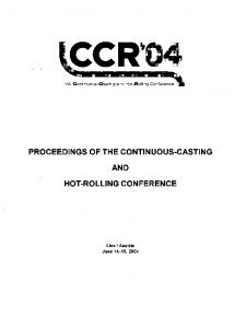 PROCEEDINGS OF THE CONTINUOUS-CASTING AND HOT-ROLLING CONFERENCE