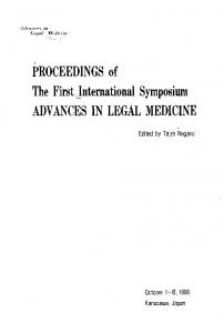PROCEEDINGS of The First international Symposium ADVANCES IN LEGAL MEDICINE