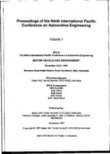 Proceedings of the Ninth International Pacific Conference on Automotive Engineering