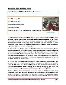 Proceedings of the Workshop (Final)