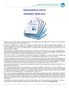 PROCESADOR DE TEXTOS MICROSOFT WORD 2007