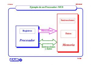 Procesador. Memoria. Ejemplo de un Procesador: MU0. Instrucciones. Direcciones. Registros. Datos. Instrucciones y datos SETI Tr