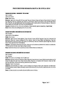 PROCESIONES SEMANA SANTA DE ÁVILA 2014