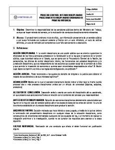 PROCESO CONTROL INTERNO DISCIPLINARIO PROCEDIMIENTO DISCIPLINARIO ORDINARIO DE PRIMERA INSTANCIA