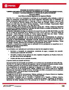 PROCESO DE CONTRATACION N A LIMPIEZA MECANICA DE LOS TUBOS DE LOS HORNOS DE LA PLANTA DE CRUDO 10-H-001, 10-H-002A Y 10-H-002B DURANTE LA