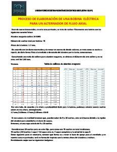 PROCESO DE ELABORACIÓN DE UNA BOBINA ELÉCTRICA PARA UN ALTERNADOR DE FLUJO AXIAL