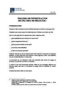 PROCESO DE INVESTIGACION DE UNA IDEA DE NEGOCIOS (*)