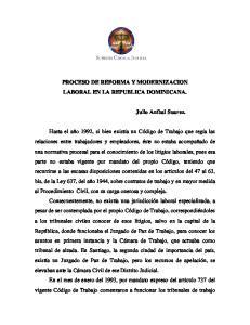 PROCESO DE REFORMA Y MODERNIZACION LABORAL EN LA REPUBLICA DOMINICANA