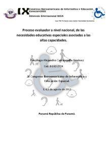 Proceso evaluador a nivel nacional, de las necesidades educativas especiales asociadas a las altas capacidades