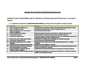 PROCESO POSTULACIONES SUBVENCIONES ORDINARIAS 2016