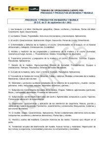 PROCESOS Y PRODUCTOS EN MADERA Y MUEBLE (B.O.E. de 21 de septiembre de 1.993)