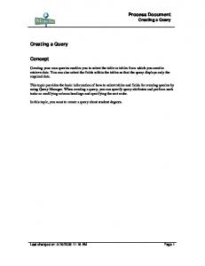 Process Document Creating a Query. Creating a Query. Concept