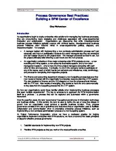Process Governance Best Practices: Building a BPM Center of Excellence