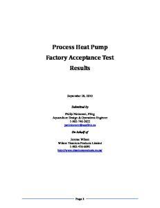 Process Heat Pump Factory Acceptance Test Results