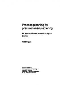 Process planning for precision manufacturing