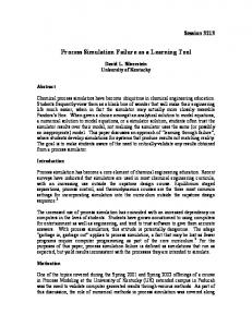 Process Simulation Failure as a Learning Tool