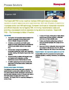 Process Solutions. Experion HMI. Product Information Note