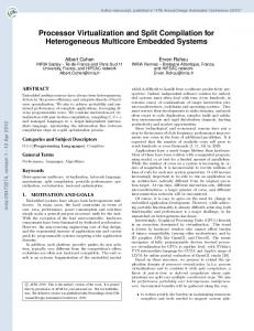 Processor Virtualization and Split Compilation for Heterogeneous Multicore Embedded Systems