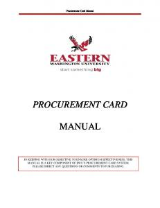 PROCUREMENT CARD MANUAL
