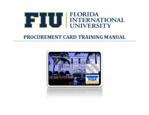 PROCUREMENT CARD TRAINING MANUAL