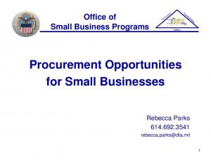 Procurement Opportunities for Small Businesses