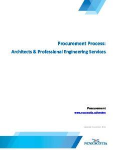 Procurement Process: Architects & Professional Engineering Services. Procurement