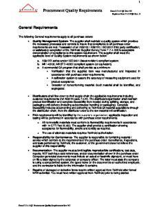 Procurement Quality Requirements