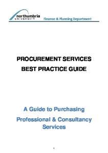 PROCUREMENT SERVICES BEST PRACTICE GUIDE
