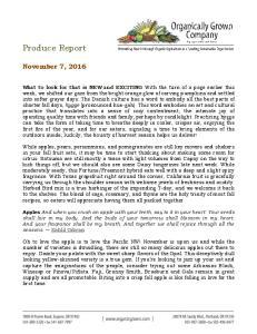 Produce Report. November 7, 2016