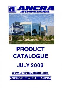 PRODUCT CATALOGUE JULY ANCHOR IT WITH..ANCRA