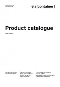 Product catalogue. Premium containers Multipurpose containers Sanitary containers Depot containers