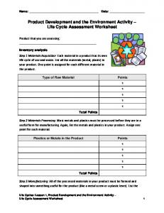 Product Development and the Environment Activity Life Cycle Assessment Worksheet