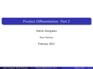 Product Differentiation: Part 2