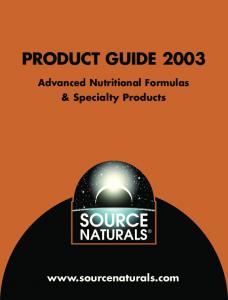 PRODUCT GUIDE Advanced Nutritional Formulas & Specialty Products