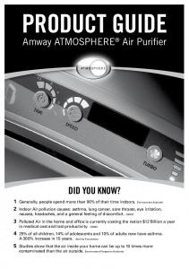 Product Guide. Amway ATMOSPHERE Air Purifier. Did you know?