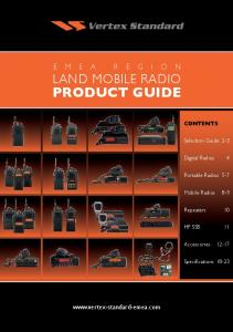 Product Guide.  Contents. Selection Guide 2-3. Digital Radios 4. Portable Radios 5-7. Mobile Radios 8-9